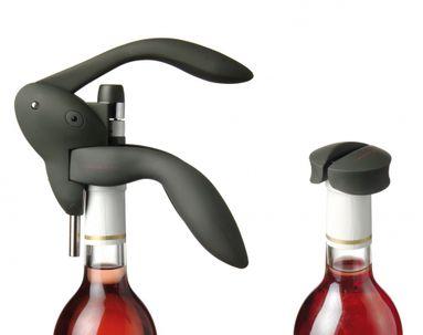 Giftset classic сorkscrew, spare corkscrew spring, foil cutter (black) 095156